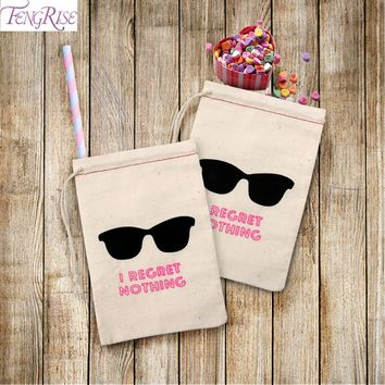 FENGRISE 10pcs I REGRET NOTHING Hangover Kit Bags Wedding Gifts For Guests Bridal Shower Holder Bag Bachelorette Party Decor