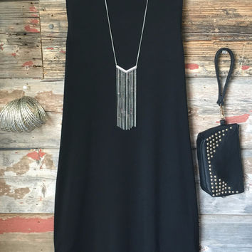 High Tide Tunic Dress: Black