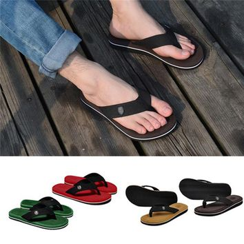 Men Flat Sandals Thong Flip Flops Slippers Beach