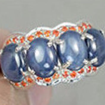 Natural Burmese 10TCW Oval Cabochon 6 Ray Star Blue Sapphires & Orange Sapphire Engagement Anniversary Ring
