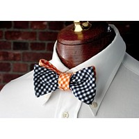 Reversible Bow Tie in Navy and Orange Gingham by High Cotton
