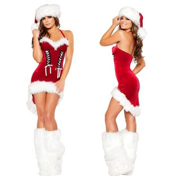 Cheaper!! Free shipping Women Christmas Costumes Sexy Red Christmas Dress Santa Claus Costumes for Adults Uniform
