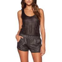 Perforated Leather Romper in Black