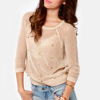 Spikes-y Dish Studded Beige Sweater