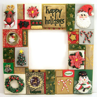 Polymer Clay Tile Mosaic Photo Frame, Red and Green, Handmade Collage Mosaic Art