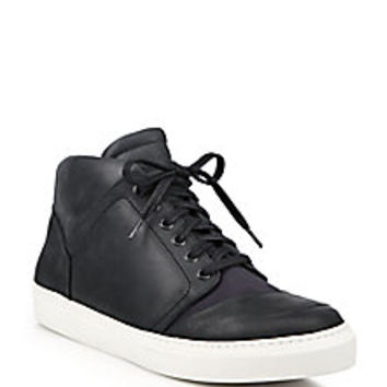 Belstaff - Streetmaster Leather & Rubber Mid-Rise Sneakers - Saks Fifth Avenue Mobile