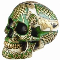 Figurine Celtic Lion Skull Bank Hand Painted Resin 6411