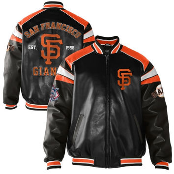 San Francisco Giants Home Team Full Zip Pleather Jacket - Black