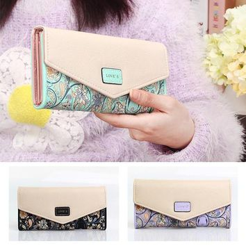 Day-First™ New Women Leather Wallet Floral Purse Card Mobile Bag long Zip Handbag hot = 1932938116