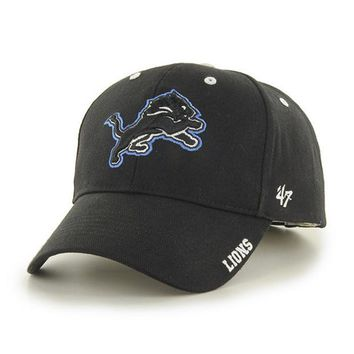 DCCKG8Q NFL 47 Brand Detroit Lions Black Frost Adjustable Hat