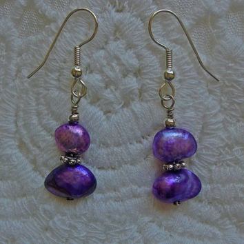 Sterling Silver and Lavender Stone Earrings