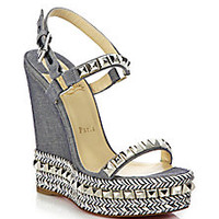 Christian Louboutin - Cataclou Studded & Braid-Trimmed Denim Wedge Sandals - Saks Fifth Avenue Mobile