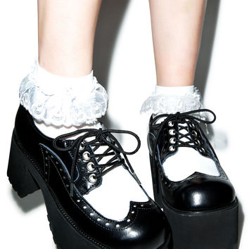 T.U.K. Wingtip Nosebleed Heels Black/White