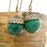 Autumn Acorn  Earrings, Gemstone, Green Jade