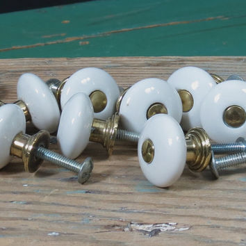 White Porcelain Knobs Set of 4 . Small Ceramic & Brass Cabinet Drawer Pulls . Vintage Furniture Hardware . Apothecary