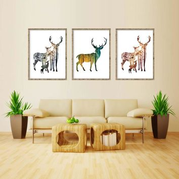 Forest Silhouette of  Deer Family Cartoon A4 Canvas Art Print Painting Poster Wall Pictures For Living Room Home Decor No Frame