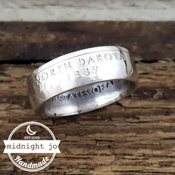 North Dakota 90% Silver State Quarter Coin Ring