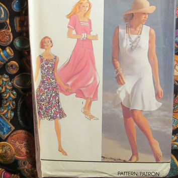 Sale Uncut 1991 Simplicity Sewing Pattern, 7278! 14-16-18-20-22 Medium/Large/XL/Women's/Misses/Petite Culotte Dress/Dropped Waist/Sleeveless