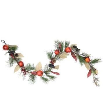 "6' x 10"" Autumn Harvest Mixed Pine Berry and Nut Thanksgiving Fall Garland - Unlit"