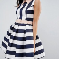 Forever Unique Mono Straped Skater With Contrast Collar And Belt at asos.com