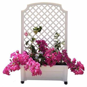 Square Planter Box with Trellis in White Plastic with Lockable Wheels