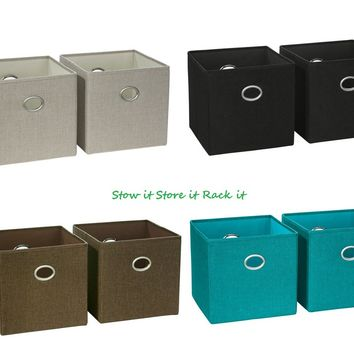 """Set of 2 Square Folding Fabric Storage Bins Beige Black Brown or Turquoise 10.5"""""""