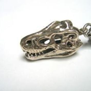 3D Sterling Silver TRex  Skull Pendant with Articulated by mrd74