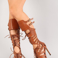 Lace Up Open Toe Gladiator Knee High Heel Color: White, Size: 11