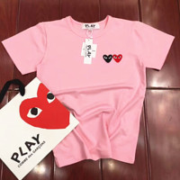 PLAY two love heart short sleeve couple T-shirt tee top Pink