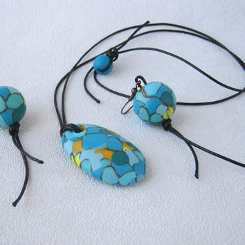 Turquoise imitation polymer clay jewelry Turquoise set pendant stone earrings beads imitation Turquoise mosaic polymer clay stone pendant