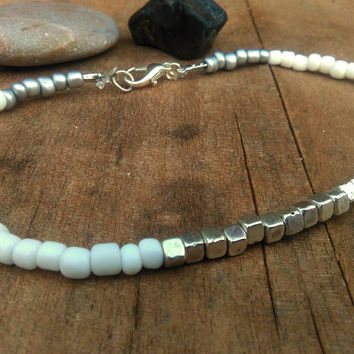 White Beaded Anklet, Silver Cube Ankle, Boho Bracelet Anklet, Simple Ankle, Beaded Dainty Ankle, Minimalist Beads Anklet, Body Jewelry