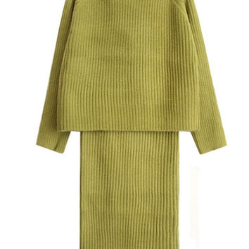 Sweater Top + Midi Skirt Set in Lime