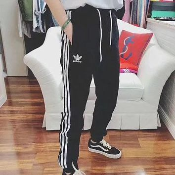 Adidas grass triple bar for men and women of large size sports pants small terry hoop guard pants