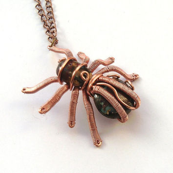 Spider Necklace, Wire Wrapped Copper Boulder Opal Stones Spider Pendant, Arachnid Jewelry, Creepy Handmade Jewellery, Scary Necklace, OOAK