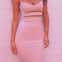 Pink Cut Out Bodycon Midi Dress