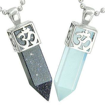 Positive Energy OM and Yin Yang Powers Love Couple Amulet Set Crystal Points Blu