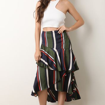 Striped Satin Tiered Ruffled High Rise Midi Skirt