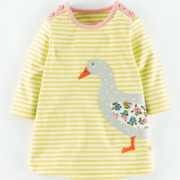 Infant Girl's Mini Boden 'Stripy' Applique Jersey Dress,