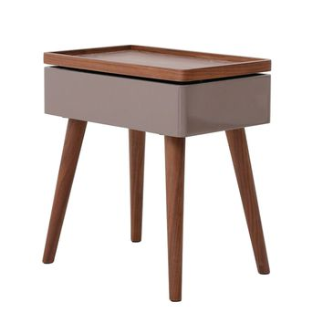 Nesta Swivel Top End Table with Storage, Walnut/Gray