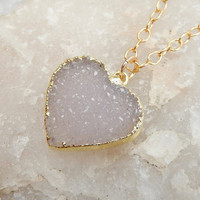 White Heart Druzy Necklace 24K Gold Quartz Natural Rock Crystal Pendant- Free Shipping OOAK Jewelry
