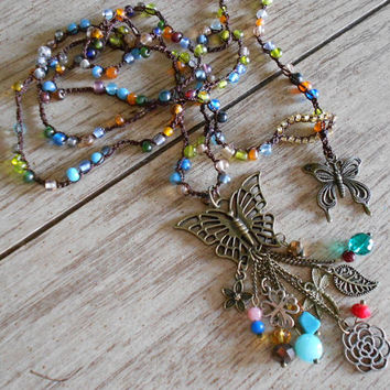 Bohemian Crochet Multi Wrap Beaded Necklace with Multi Colored Seed Beads and Bronze Butterfly