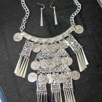 Coin Fringe Statement Necklace and Earring Set in Silver