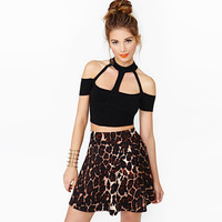 All-match Fashion Stitching Perspectiv Gauze Hollow Bandage Halter T-shirt Crop Top