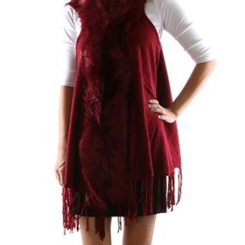 Scarf Faux Fur Trim Fringed Vest Poncho Woven