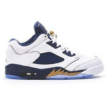 "Men's Fashion Basketball Shoes Air Jordan 5 Retro Low ""Dunk From Above"" White/Gold/Nav"