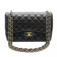 Karen Chanel Women's Black Leather Shoulder Bag