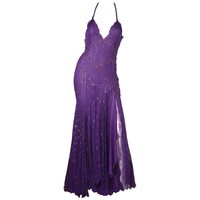 Gianni Versace Purple Embellished Halter Gown