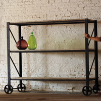Giant Iron And Wood Rolling Shelving Unit