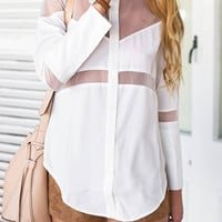 White Mesh Asymmetrical Buttoned Shirt