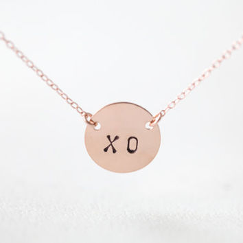 Personalized Rose Gold Circle Initial Necklace - two letter custom initials on pink gold14k gold fill chain, XO circle necklace